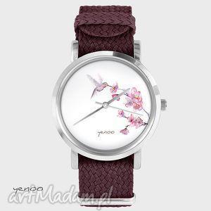 zegarek, bransoletka - koliber bordowy, bransoletka, nato, pleciony