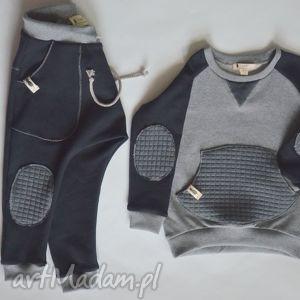 bluza szaro-czarna, dziecko, bluza, dres, bawełna, raglan, szara