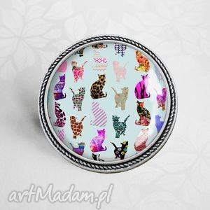 koty koty koty słodka broszka z kotkami - grafiką w szkle - kotek, zwierzaki