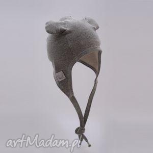 czapka pilotka wiązana - szara, uszy, prezent, niemowlę, wiosna, jesień, bawełna