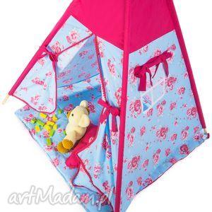 akukuuu teepee róże - fuksje, teepee, namiot, wigwam, zabawa, dziecko, prezent dla