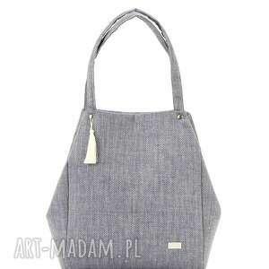 torebka lniana simple 815 - szara, len, jodełka, elegancka, prosta, stylowa