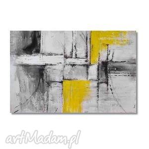 obrazy abstrakcja popiel i żółć 2, nowoczesny obraz ręcznie malowany
