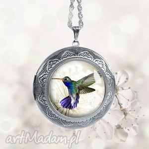 pastelowy koliberek stylowy medalion na prezent - sekretnik, otwierany, styl, srebrny