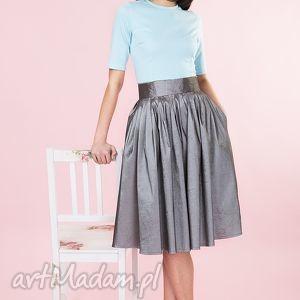 grafitowa spódnica z tafty, spodnica, elegancka, tafta, rozkloszowana, długa