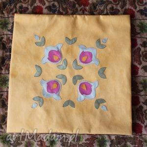 poduszki żółty folk- poszewka, etno, folk, rustykalna, aplikacja dom