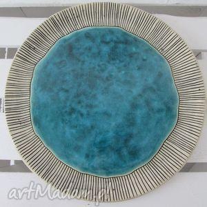 ceramika ana turkusowa patera na coś smacznego, patera, ceramiczna, dekoracyjny