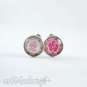 klipsy - różowe różyczki, klipsy, róże, retro, grafika, unikatowe, prezent
