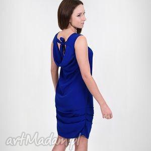 sukienki kobaltowa sukienka z wodą w tyle, sukienka, woda, dekolt, haber, kobalt