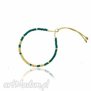 bransoletka minimal - bootle green and gold, bransoletka, handmade