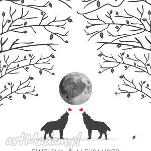 obraz na płotnie 50x70 cm - wilki wyjace z miłości 3 tusze do odcisków, księga, gości