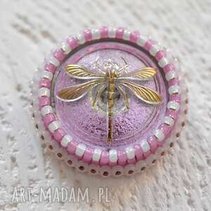 shiny buttons dragonfly - ważka, haft, koraliki