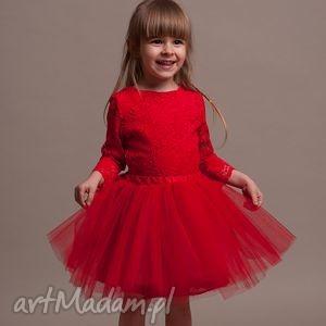 Uroczy komplet dla dziewczynki!, tiul, koronka, czerwona, bawełna,