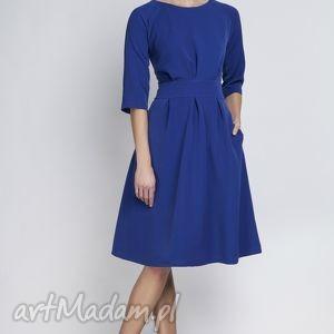 Sukienka, SUK122 indygo, rozkloszowana, kieszenie, taliowana, kobieca, wesele