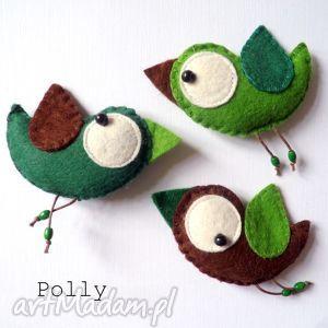 Prezent Three little birds :)- przypinki, broszka, ptaszek, filc, komplet, prezent