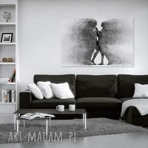 obraz na płótnie - para sylwetki postacie czarno-biaŁy - 120x80 cm 38404