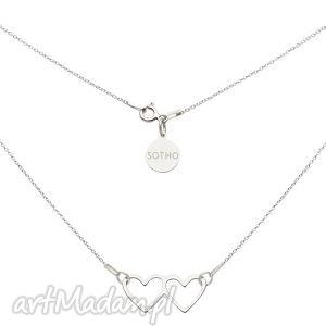 srebrny naszyjnik z dwoma serduszkami, serduszka, serduszko, serce, łańcuszek, modowy