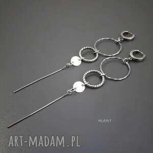 kolczyki długie vi, srebro, oksydowane, biżuteria