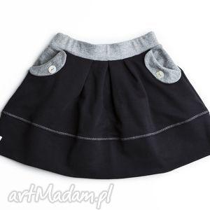 spódniczka black grey, spódnica, dziewczęca, czarna, zakłaki, kieszenie, bawełna