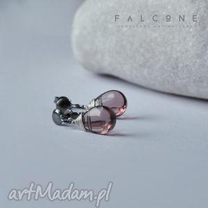 kolczyki kropelki rosy, kolczyki, sztyfty, srebro, kropelki, łezki, szkło biżuteria