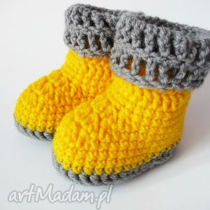 buciki szydełkowe żółte, buciki, szydełkowe, botki