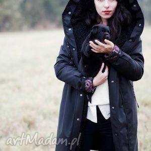 płaszcze płaszcz zimowy z podpinką czarny, zimowy, kaptur, futerko, podpinka, jedwab