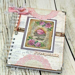 scrapbooking notesy przepiśnik- różana kawiarenka, książka, kucharska, prezent