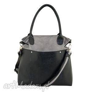 fiella - duża torba szara, shopper, wygodna, praktyczna, alkantara, ekoskóra