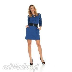 ręcznie robione sukienki 46-sukienka sznurowany dekolt, c.niebieska, rękaw 3/4,pasek