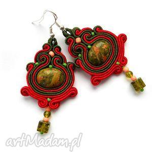 kolczyki sutasz z kamieniem unakit w czerwieni i zieleni, unakit, kamienie
