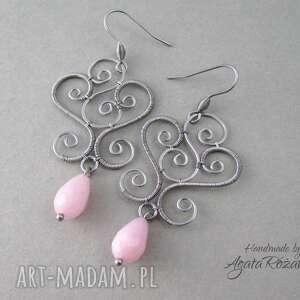 kolczyki z różowym jadeitem, stal chirurgiczna, wire wrapping - wrapping, wire