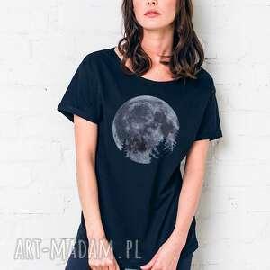 moon oversize t-shirt, oversize, czarny, tshirt, casual, bawełna, moda ubrania