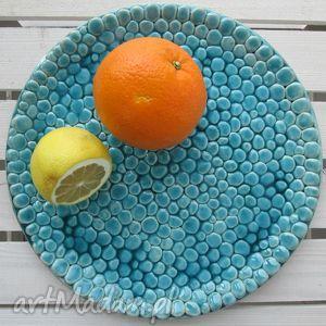 ceramika turkusowa patera z setek kulek, turkusowa, patera, talerz, ceramiczny