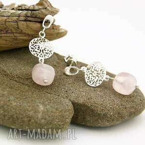 kolczyki kwarc różowy w srebrze, kolczyki, kwarc, różowy, srebro, wiszące