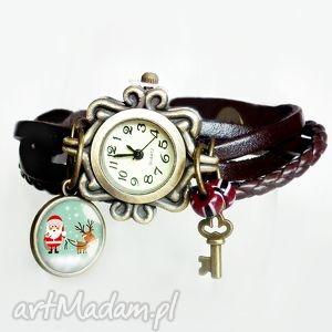 zegarek mikołaj i jego renifer, zegarek, damski, brązowy, skórzany, skórzana