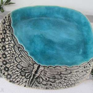 turkusowy talerz z koronką, ceramiczna, patera, turkusowa, koronkowa, ceramiczny