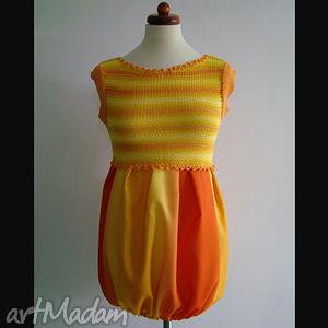 sukienka tunika cieniowana żółto-pomarańczowa, sukienka, tunika, cieniowana, unikat