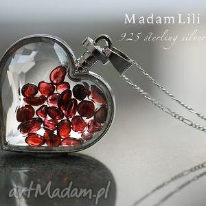 925 srebrny naszyjnik GRANAT , serce, kamienie, granat, szklany, medalion, srebro