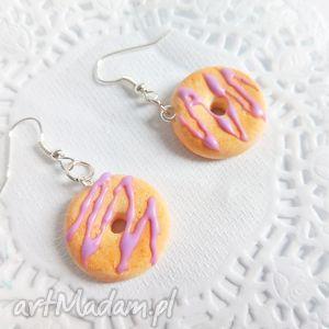 Kolczyki - donuty z lukrową polewą - ,donuty,kolczyki,walentynki,biżuteria,ciasteczka,