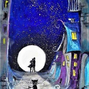 grafika akwarelami i piórkiem niebieskie miasto artystki adriany laube, kot