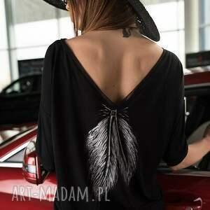tunika czarna pióro piuma angelwings, tunika, czarna, pióro, elegancka, sukienka