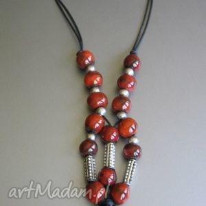 Naszyjnik orientalny, ceramika, handmade, oryginalny, czerwień, kobiecy, delikatny