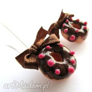 świąteczny prezent, kolczyki donuty, kolczyki, modelina, masa, fimo, donut biżuteria