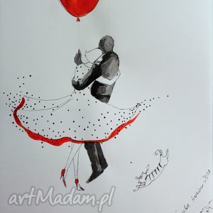 Grafika,rysunek akwarelą i piórkiem Latający kot artystki A. Laube, grafika