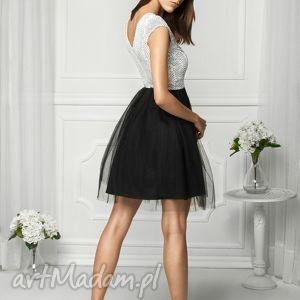 hand-made sukienki sukienka tiulowa biało/czarna fal