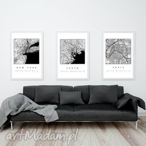 zestaw 3 grafik b2 ny paris tokyo, mapa, mapy, paryż, jork, grafiki, prezent obrazy