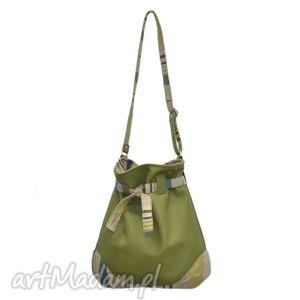 25-0004 Duża zielona torebka worek do szkoły lub na studia SPARROW, młodzieżowe