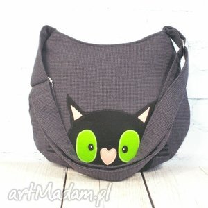 czarny kot na szczęście, kot, koty, aplikacja, filc, kotek, prezent