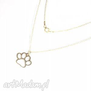 naszyjniki delikatny naszyjnik łapka, łańcuszek, łapa, pies, złoto, charms, modny