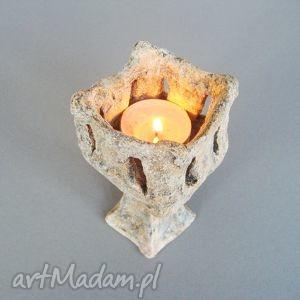 świecznik kielich , świecznik, wnętrze, dekoracja, handmade, ceramika